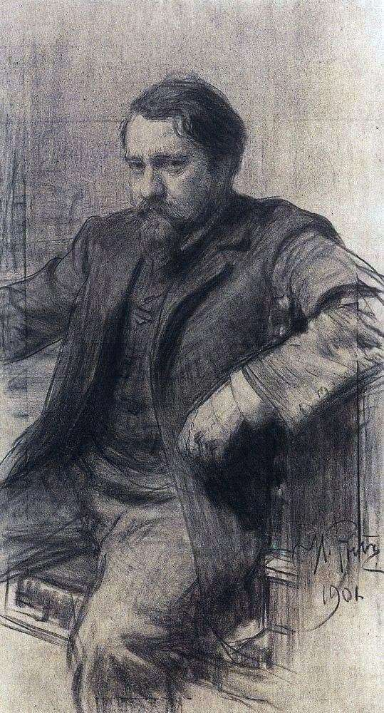 Description of the painting by Ilya Repin Portrait of the artist Serov