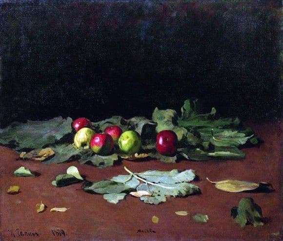 Description of the painting by Ilya Repin Apples and leaves