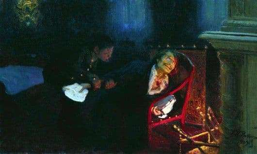 Description of the painting by Ilya Repin Self immolation of Gogol