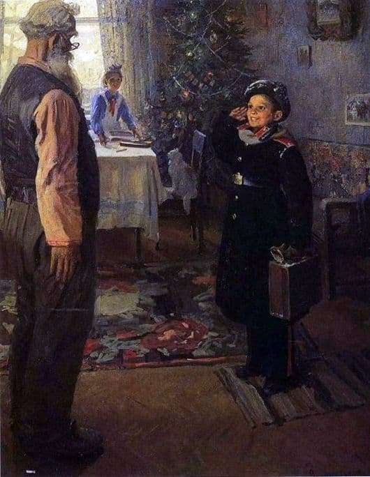 Description of the painting by Fedor Reshetnikov Arrived at the holidays