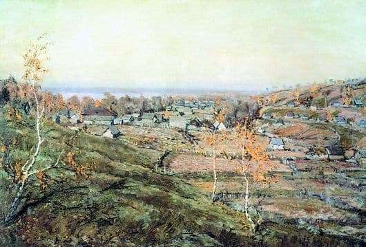 Description of the painting by Nicholas Romadin Village Khmelevka