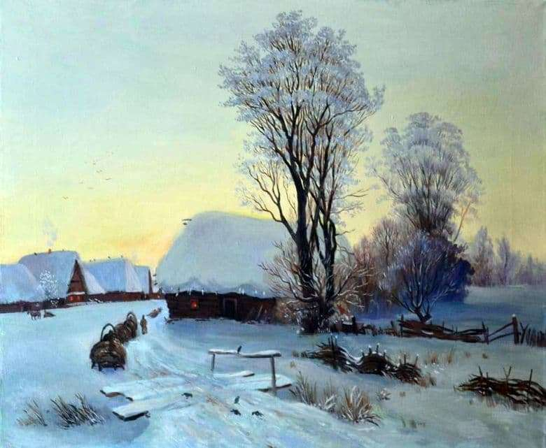 Description of the painting by Gabriel Kondratenko Winter evening