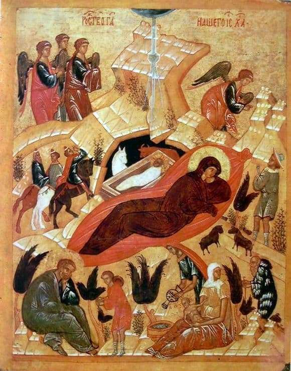 Description of the icon by Andrei Rublev Christmas