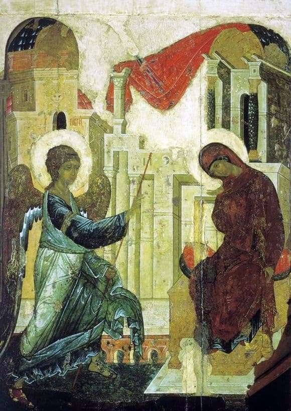 Description of the icon by Andrei Rublev Annunciation