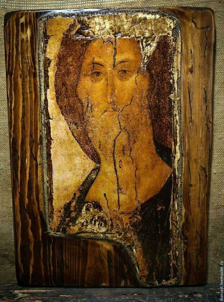 Description of the icon by Andrei Rublev Zvenigorod rank. Face of the Savior