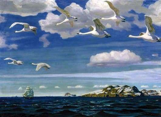Description of the painting by Arkady Rylov In the blue expanse