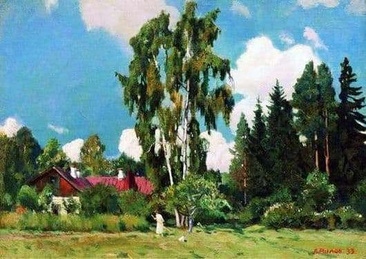 Description of the painting by Arkady Rylov House with a red roof
