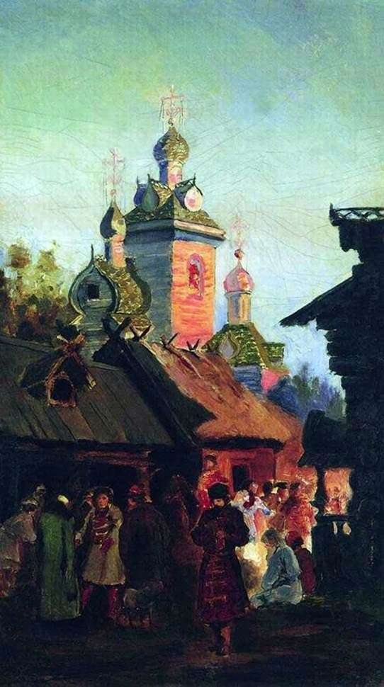 Description of the painting by Andrei Ryabushkin The street of old Moscow