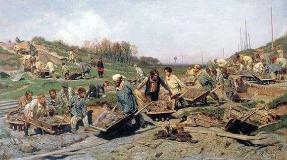 Description of the painting by Konstantin Savitsky Repair work on the railway