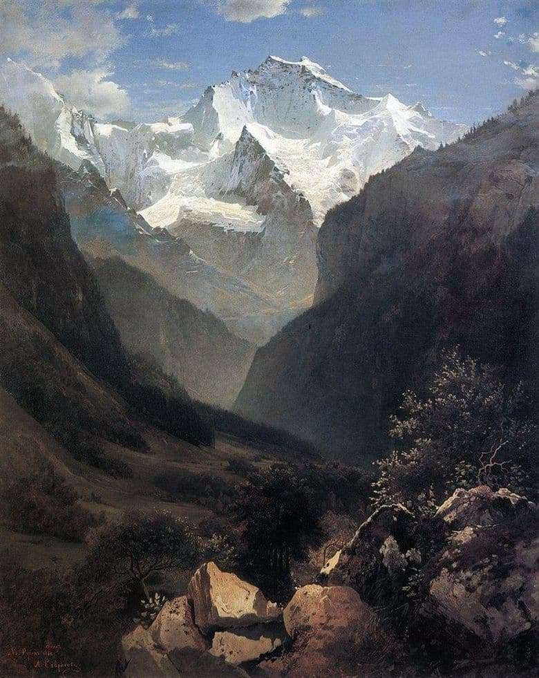 Description of the painting by Alexey Savrasov View in the Swiss Alps