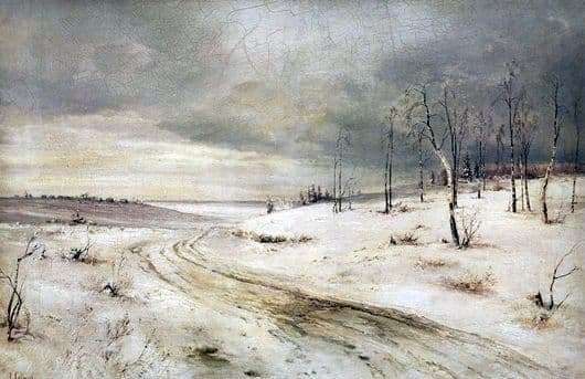 Description of the painting by Alexei Savrasov Winter Road