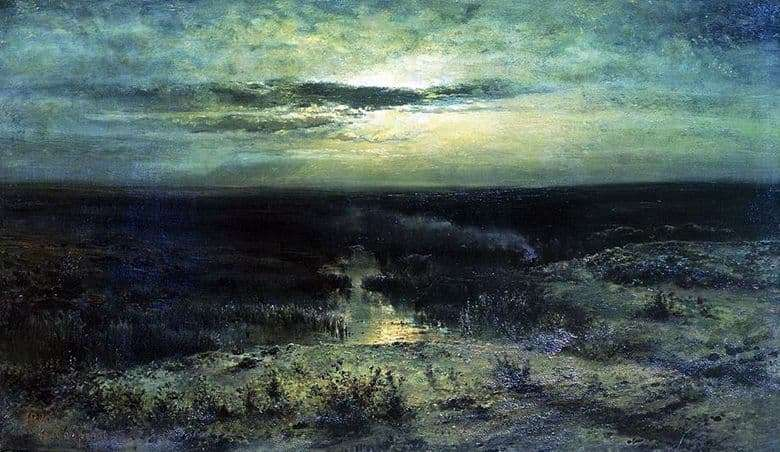 Description paintings Alexei Savrasov Moonlit night. Swamp