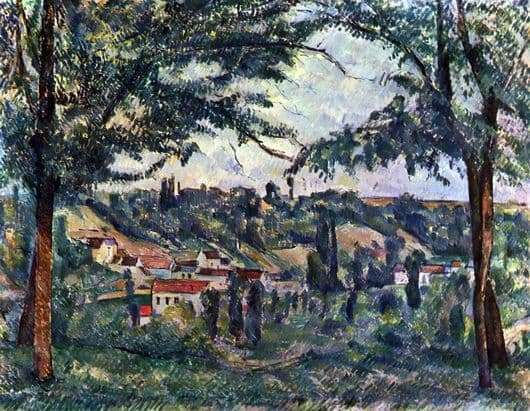 Description of the painting by Paul Cezanne Landscape