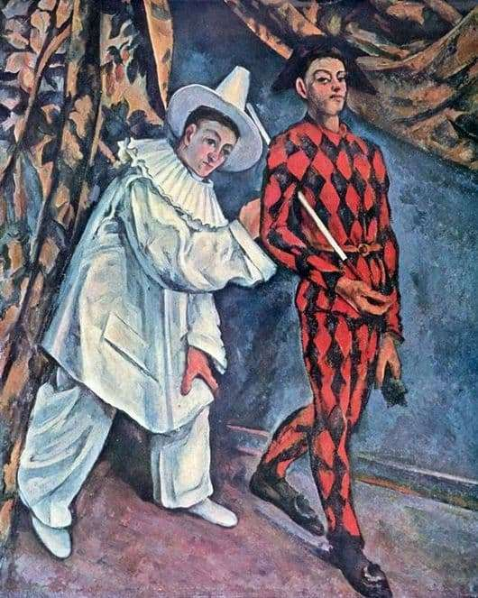 Description of the painting by Paul Cezanne Pierrot and Harlequin