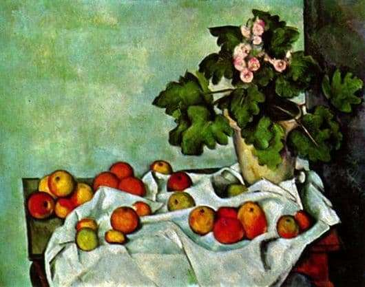 Description of the painting by Paul Cezanne Still Life with Fruit