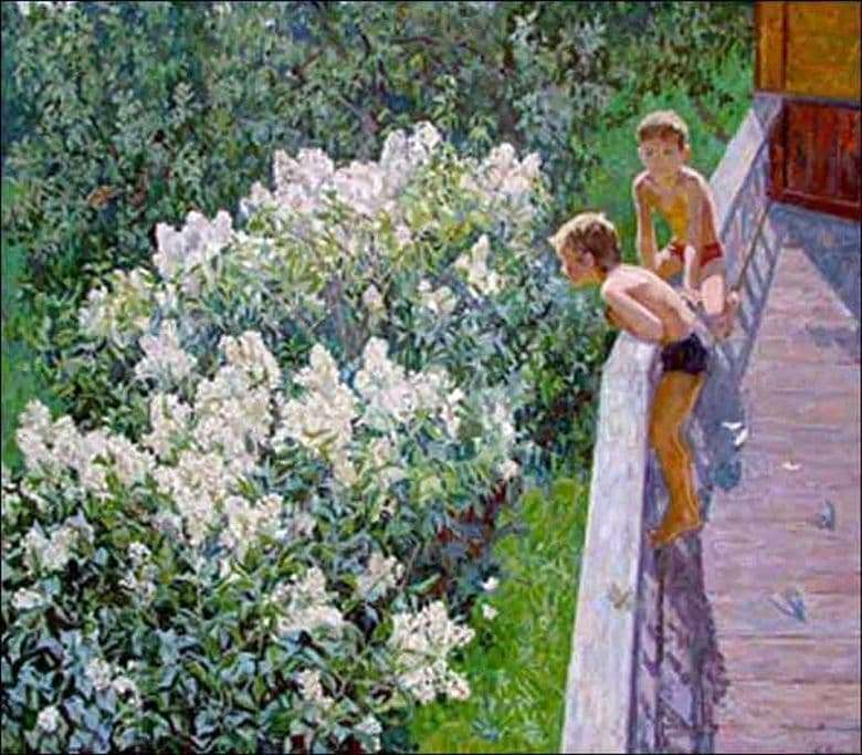 Description of the painting by Maya Kopytseva Summer day. The lilac is blooming