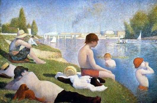 Description of the painting by Georges Seurat Bathing in Anyer