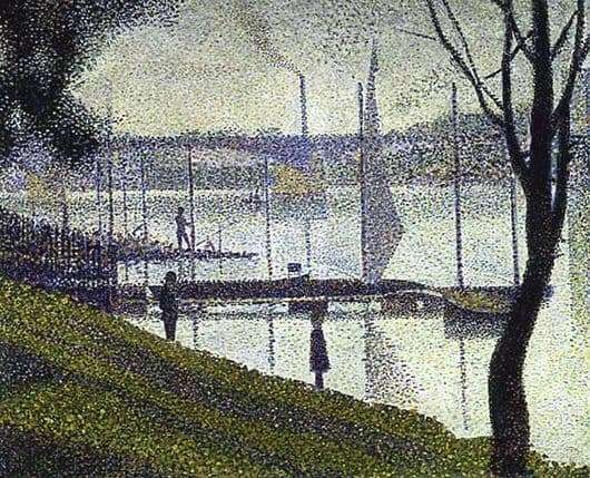 Description of the painting by Georges Pierre Seurat Bridge in Courboy