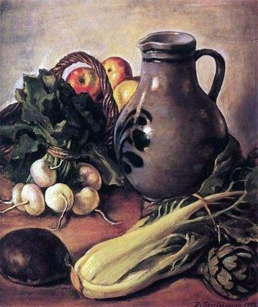 Description of the painting by Zinaida Serebryakova Still life with a jug