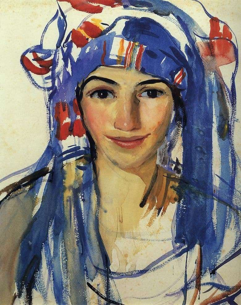 Description of the painting by Zinaida Serebryakova Self portrait in a scarf
