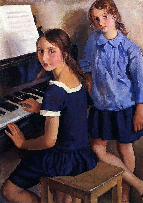 Description of the painting by Zinaida Serebryakova Girls at the piano