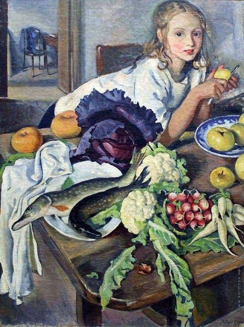 Description of the painting by Zinaida Serebryakova Kate with a still life