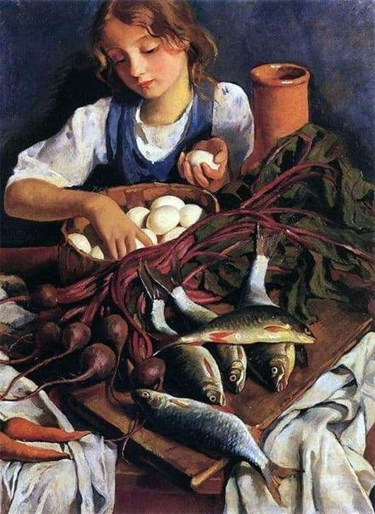 Description of the painting by Zinaida Serebryakova In the kitchen. Portrait of Katie