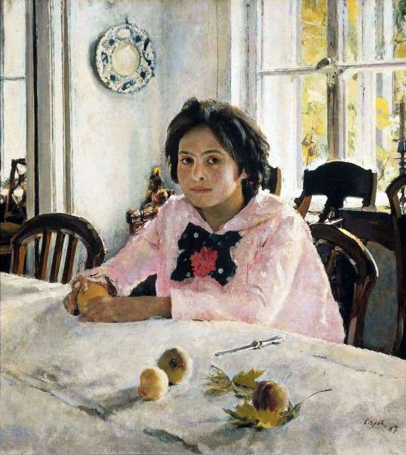 Description of the painting by Valentin Serov Girl with peaches