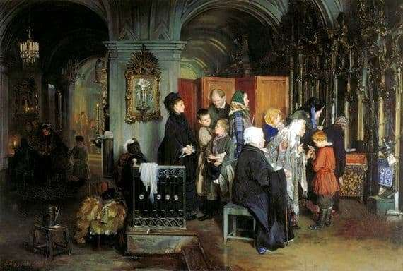 Description of the painting by Alexei Korzukhin Before confession