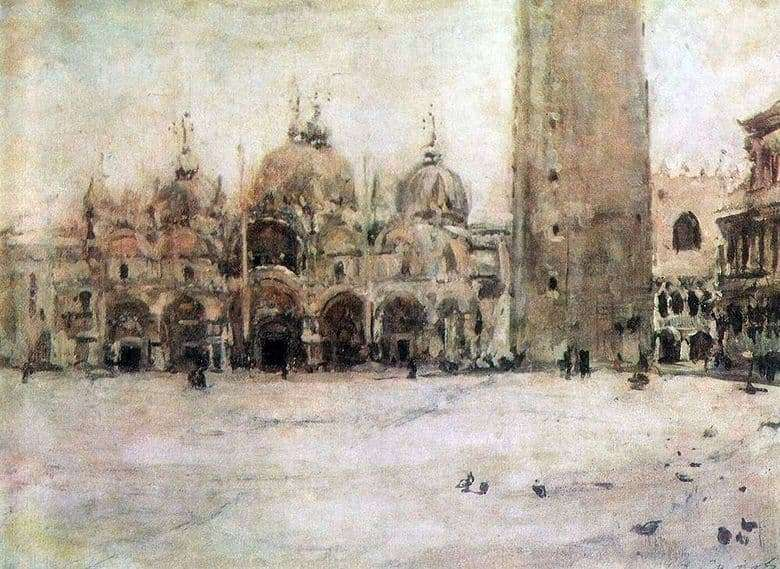Description of the painting by Valentin Serov St. Marks Square in Venice