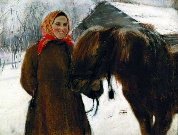 Description of the painting by Valentin Serov Baba with a horse