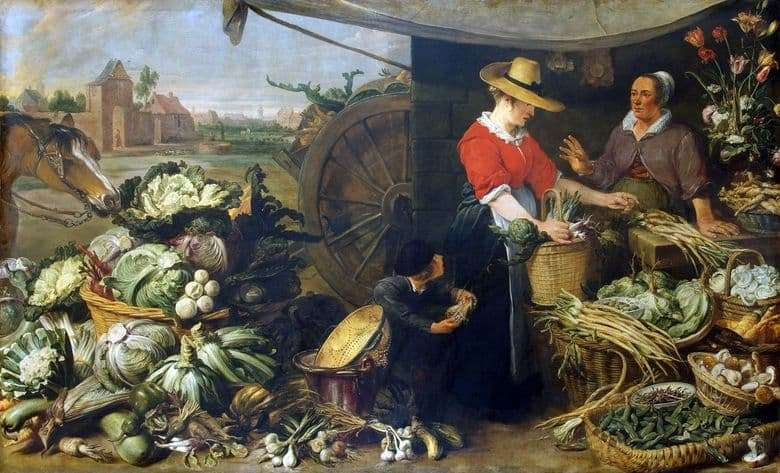 Description of the painting by Frans Snyders Vegetable shop