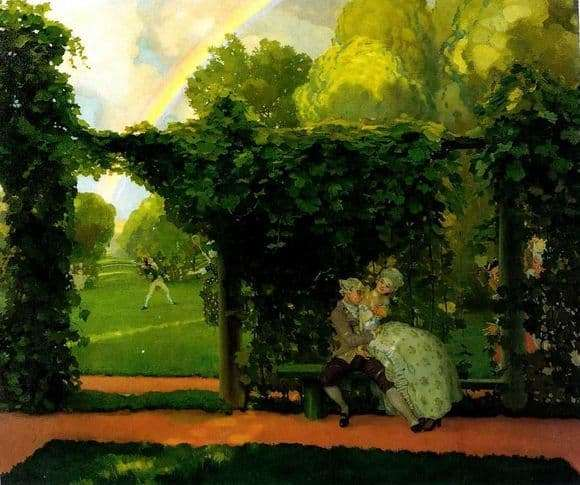 Description of the painting by Konstatin Andreevich Somov Laughing Kiss (1908)