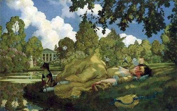Description of the painting by Konstantin Somov Sleeping young woman in the park