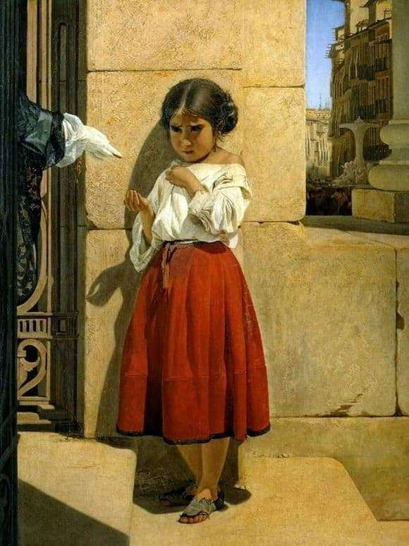 Description of the painting by Evgraf Sorokin Beggar Spanish Girl