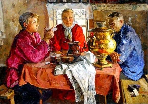 Description of the painting by Vladimir Stozharov At the samovar