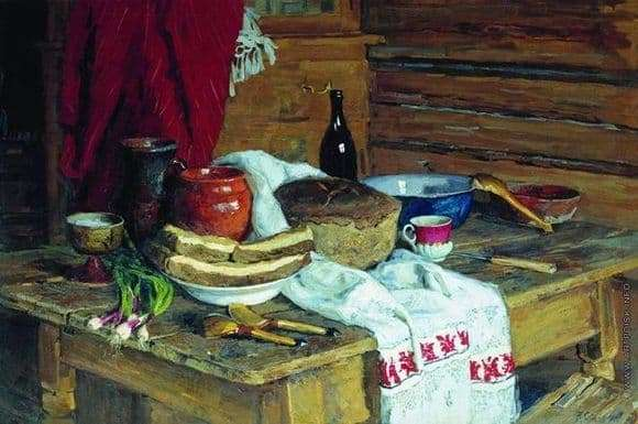 Description of the painting by Vladimir Stozharov Still Life with Bread