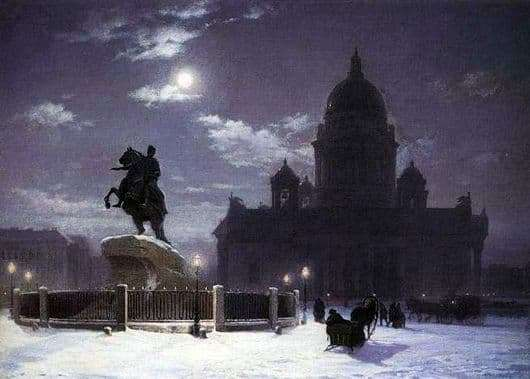 Description of the painting by Vasily Surikov Monument to Peter the Great on the Senate Square in St. Petersburg