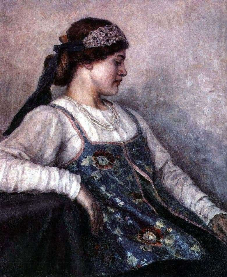 Description of the painting by Vasily Surikov Portrait of Natalia Fedorovna Matveeva