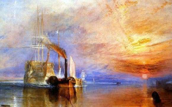 Description of the painting by William Turner The Last Flight of the Brave Ship