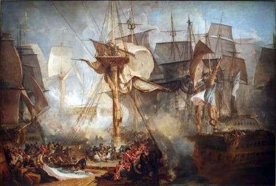 Description of the painting by William Turner Battle of Trafalgar