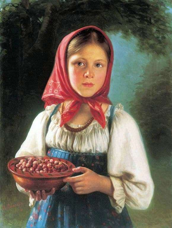 Description of the painting by Vasily Timofeev Girl with berries