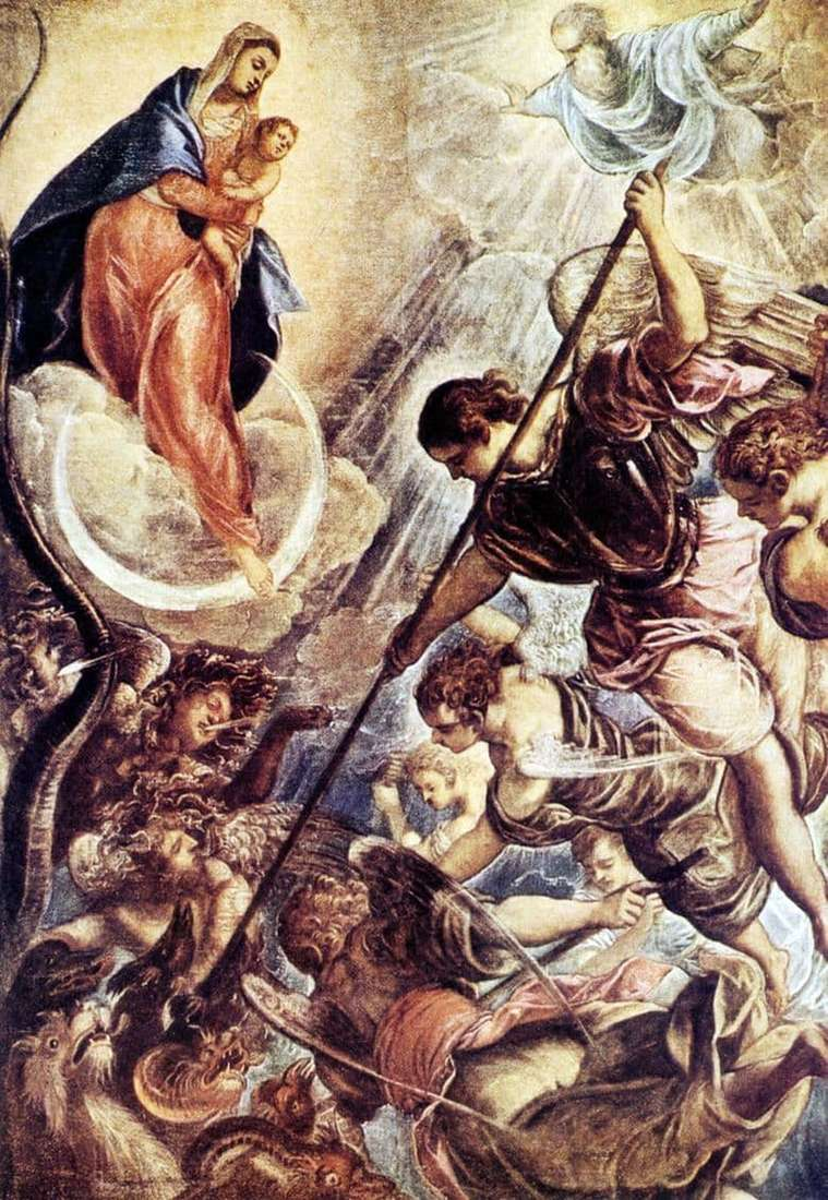 Description of the painting by Jacopo Tintoretto The Battle of Archangel Michael with Satan