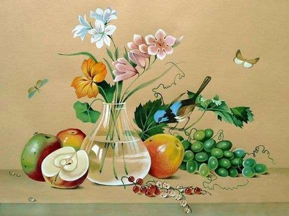 Description of the painting by Fedor Tolstoy Flowers, fruits, bird
