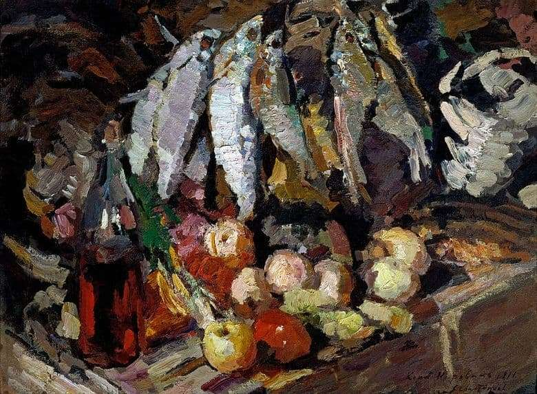 Description of the painting by Konstantin Korovin Fish, wine and fruits (1916)