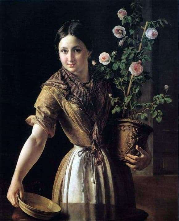 Description of the painting by Vasily Tropinin Girl with a pot of roses