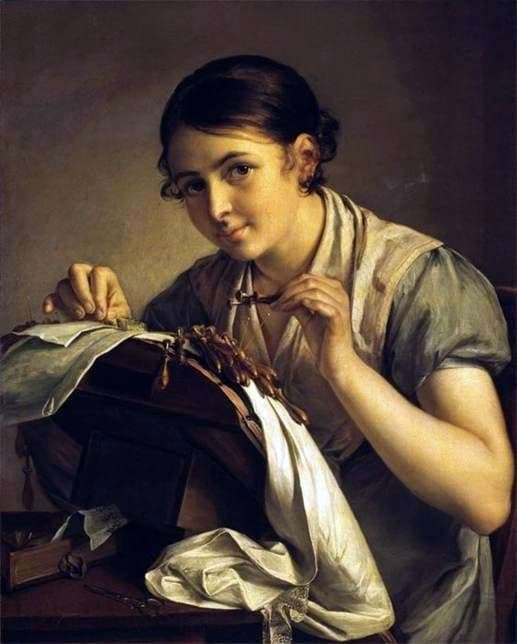 Description of the painting by Vasily Tropinin Lacemaker