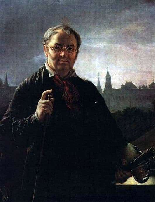 Description of the painting by Vasily Tropinin Self portrait on the background of a window overlooking the Kremlin