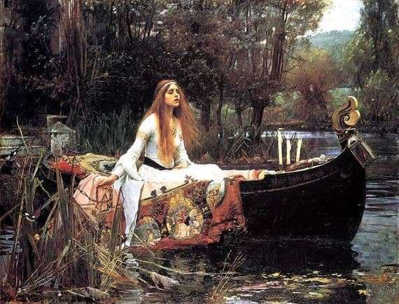 Description of the painting by John William Waterhouse Lady of Shallot