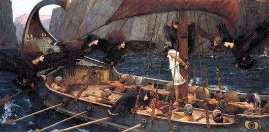 Description of the painting by John Waterhouse Odyssey and sirens